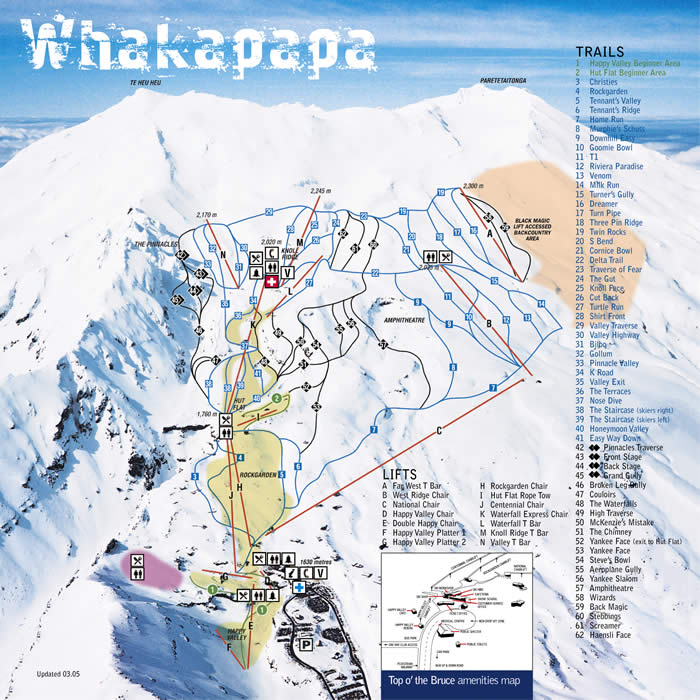 Whakapapa Ski Map New Zealand Oceania