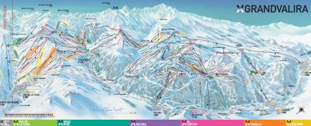 Grandvalira ski map Andorra Europe