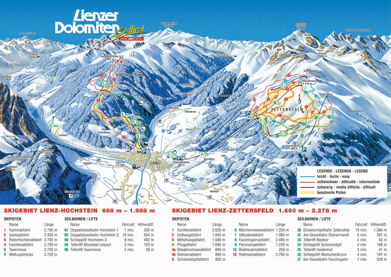 Lienz ski map Austria Europe
