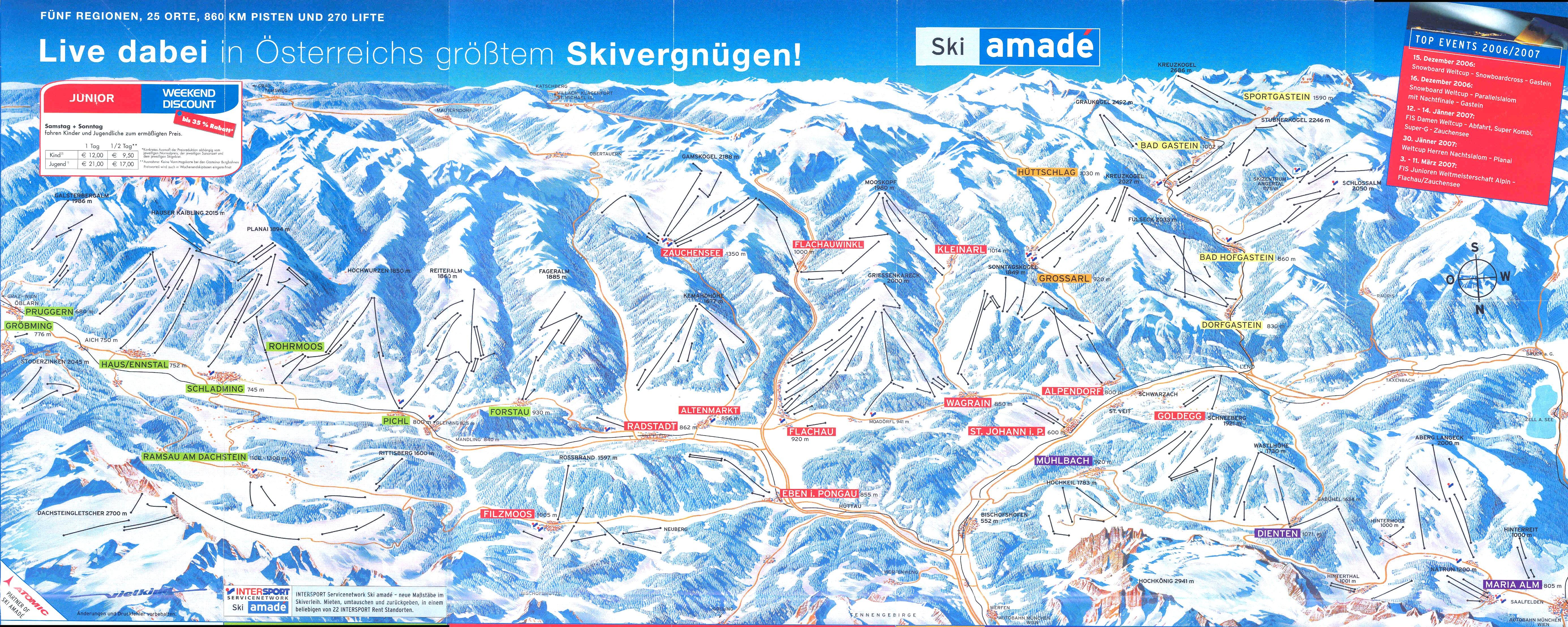 Salzburger Sportwelt ski map Ski Amad Austria Europe