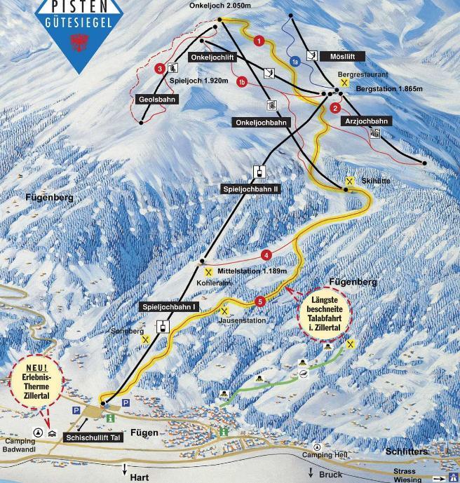 Fugen Austria  city photo : Fügen Spieljochbahn ski map, Tirol, Austria, Europe