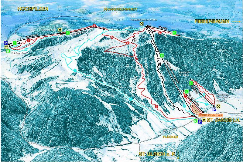 Pillersee - Buchensteinwand, Sankt Jakob in Haus ski map, Tirol ...