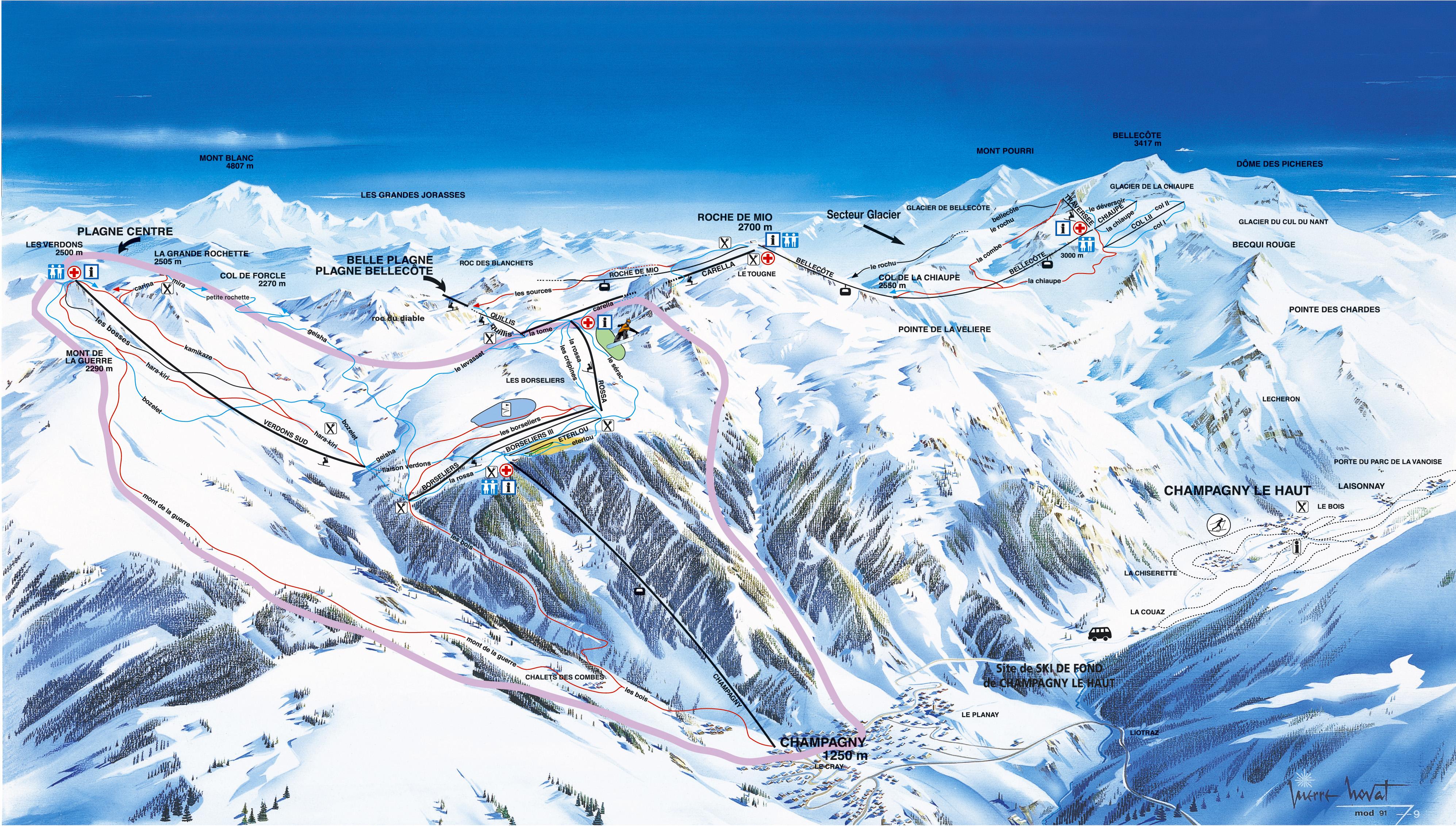 La Plagne ski map France Europe