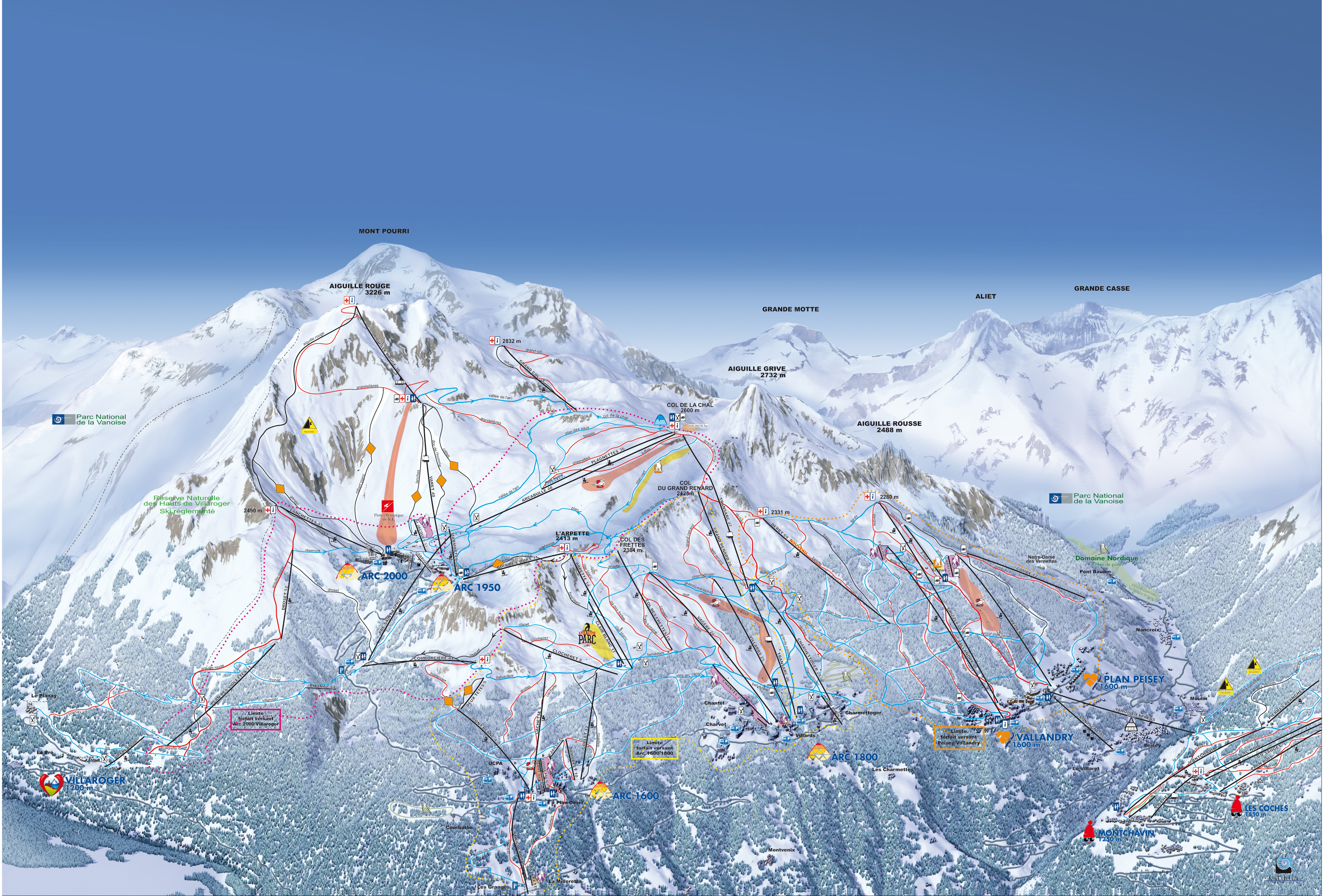 Les Arcs ski map France Europe