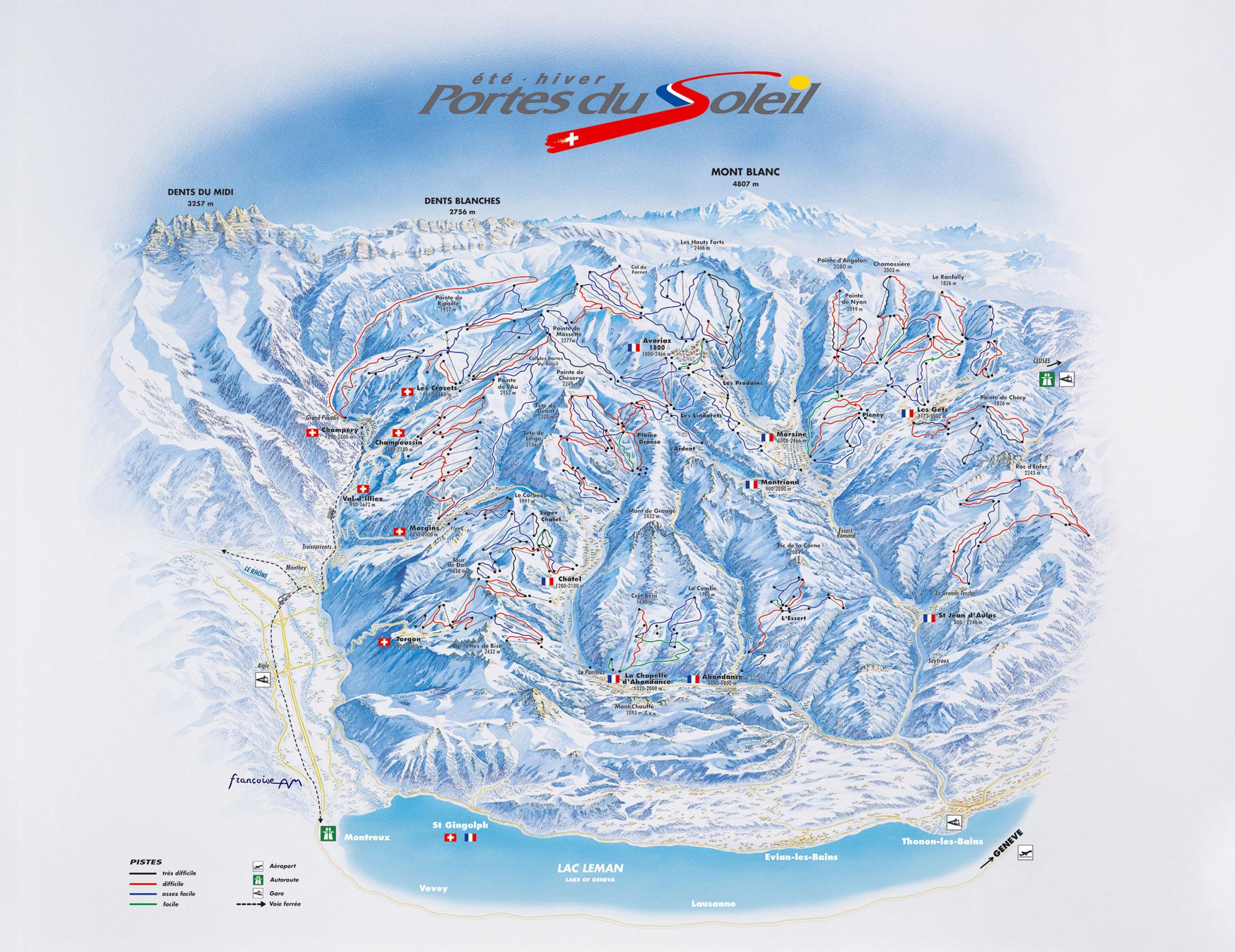 Portes du Soleil ski map Avoriaz Chatel Champery Champoussin