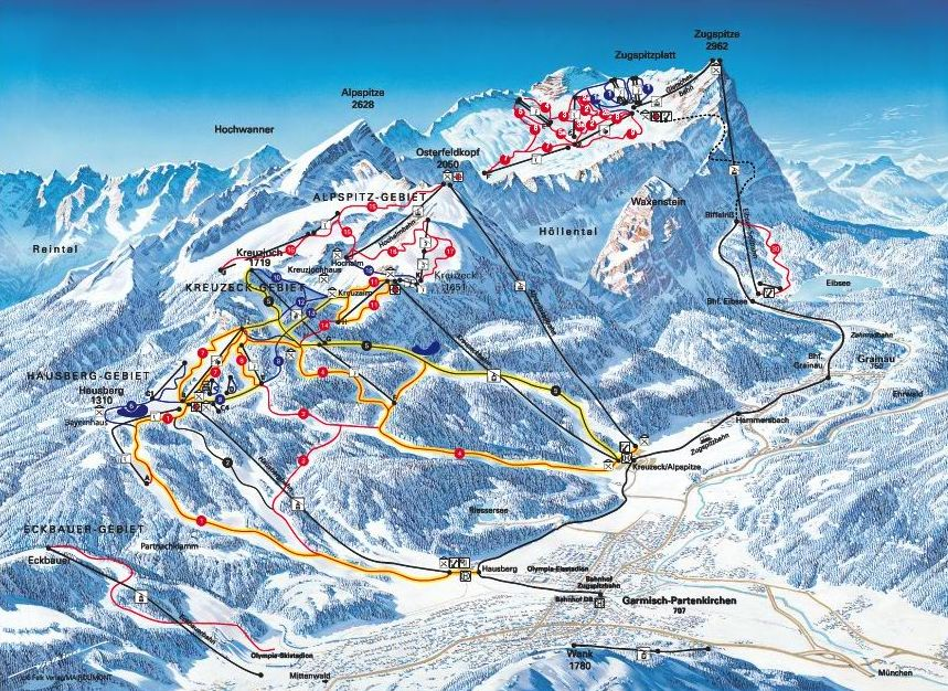 Garmisch-Partenkirchen Germany  city images : Garmisch Partenkirchen ski map, Germany, Europe