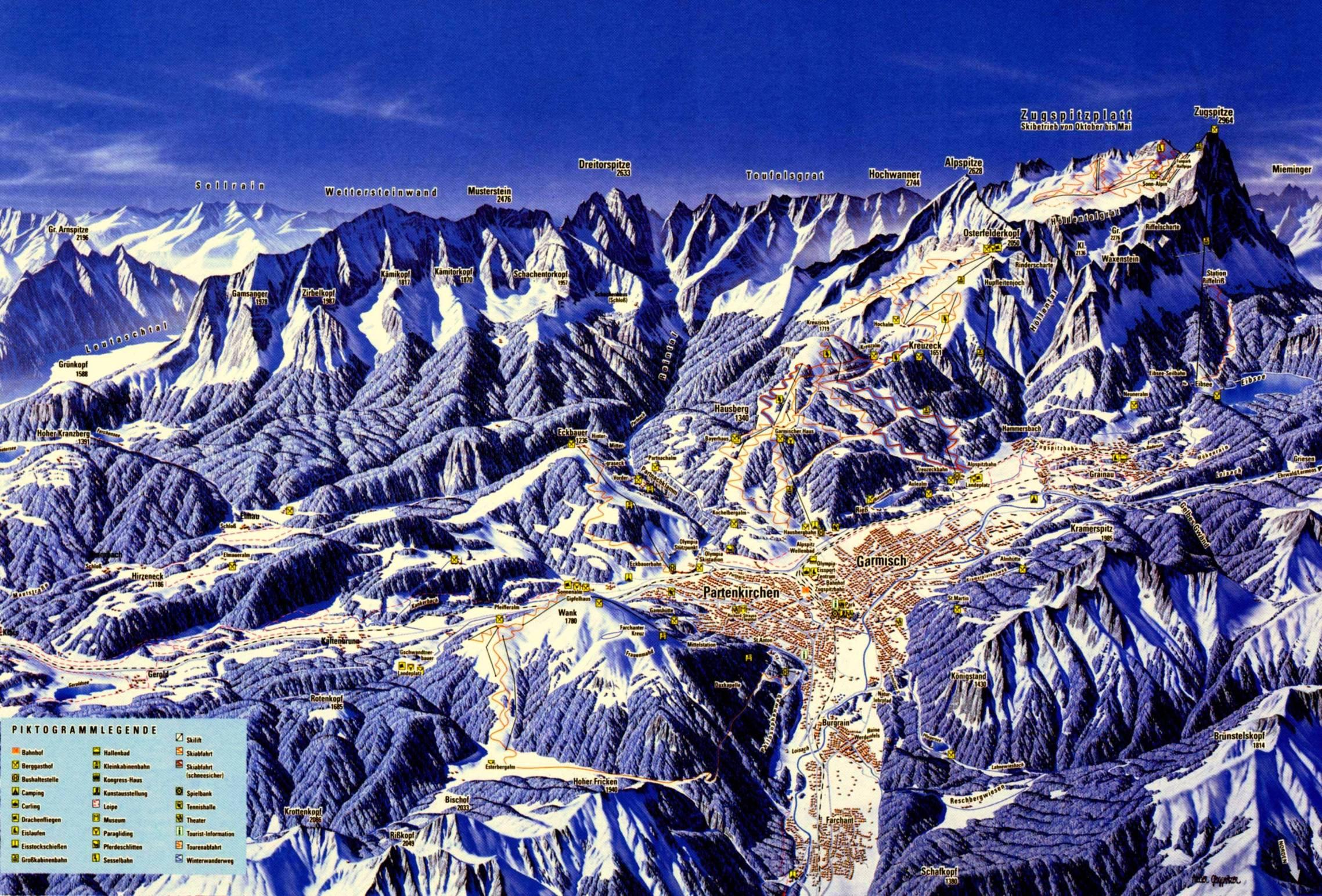 Garmisch Partenkirchen Ski Map Germany Europe