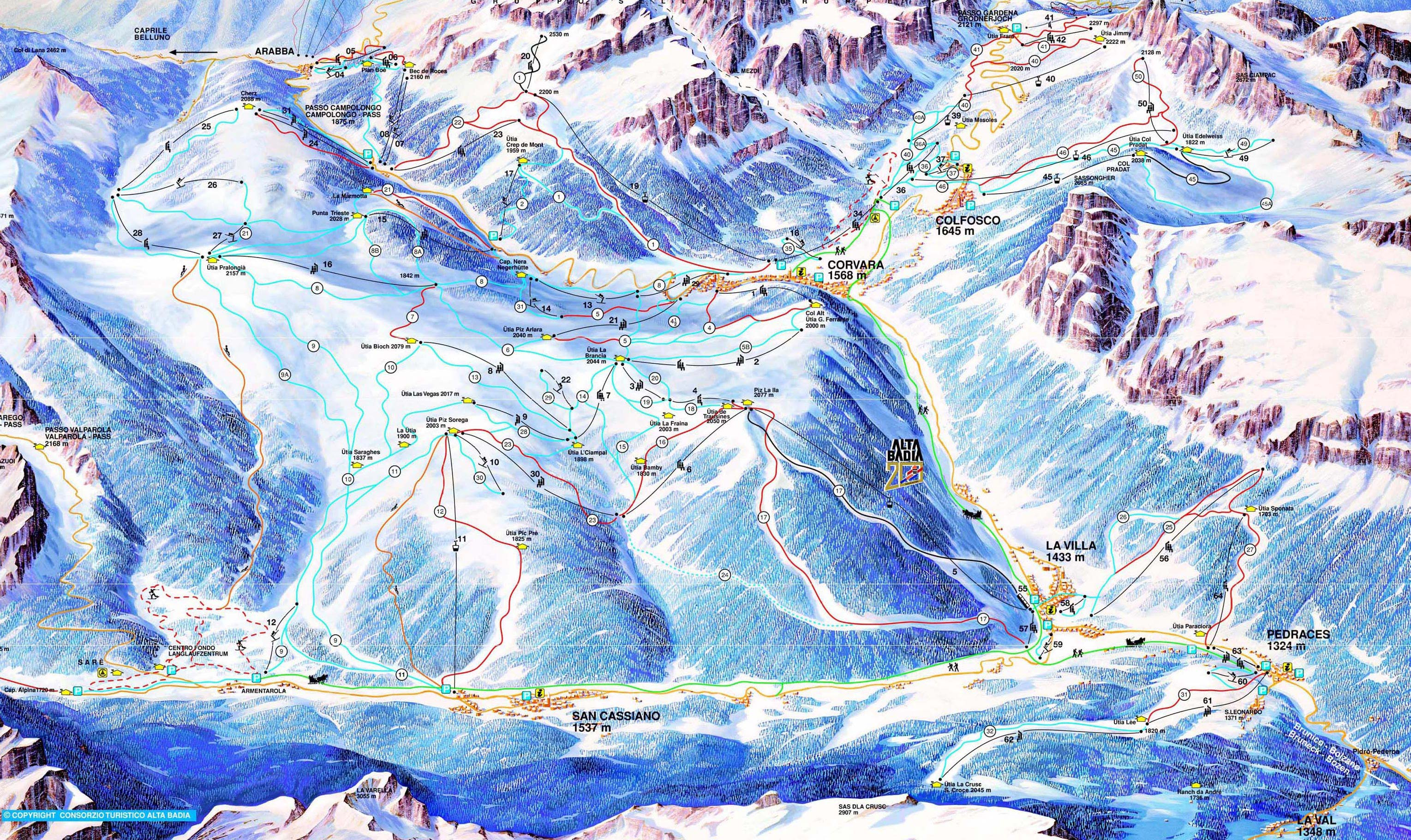 Alta Badia ski map Dolomiti Superski Italy Europe