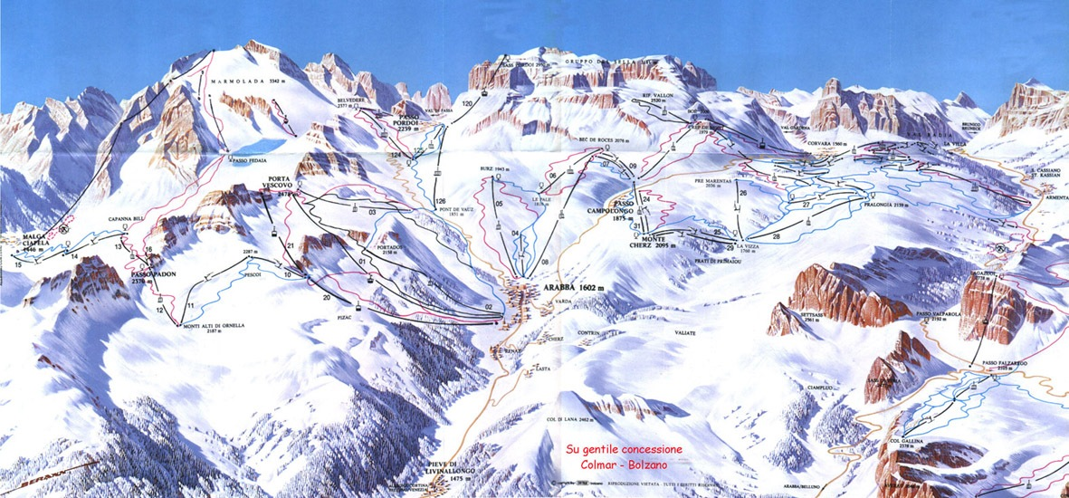 Arabba Marmolada ski map Dolomiti Superski Italy Europe