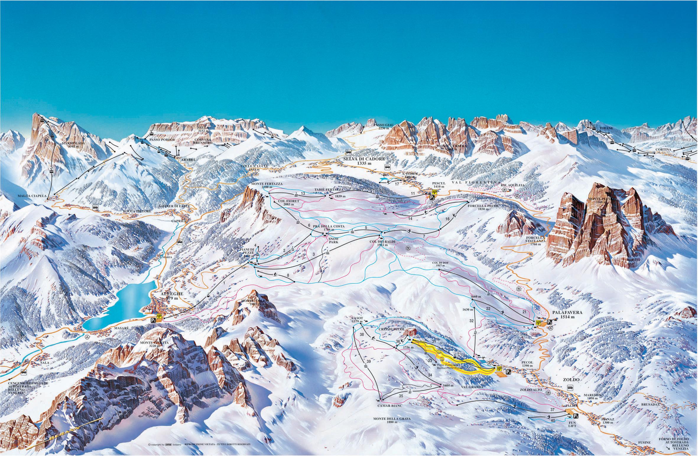 Civetta ski map Dolomiti Superski Italy Europe