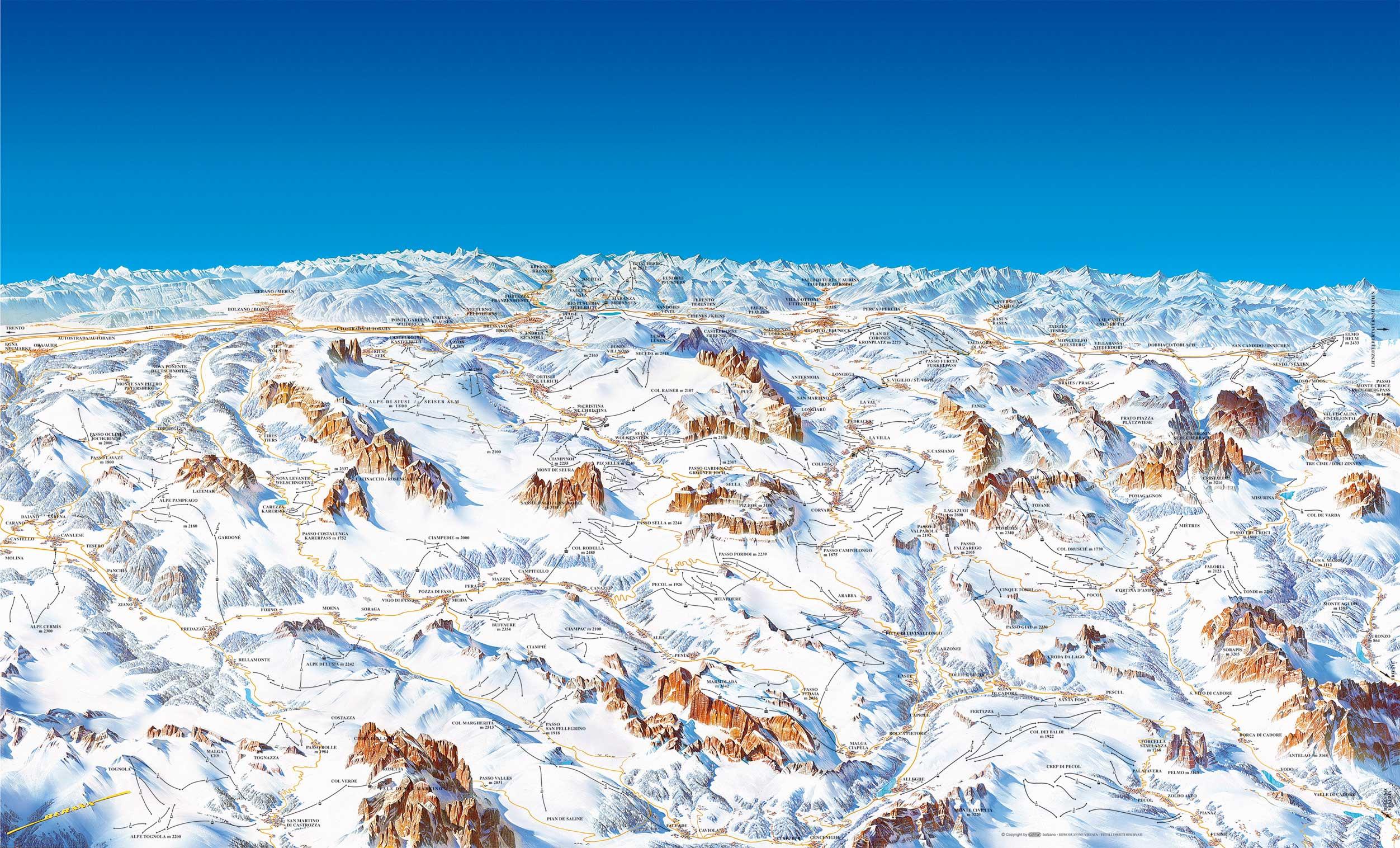 Dolomiti Superski ski map Italy Europe