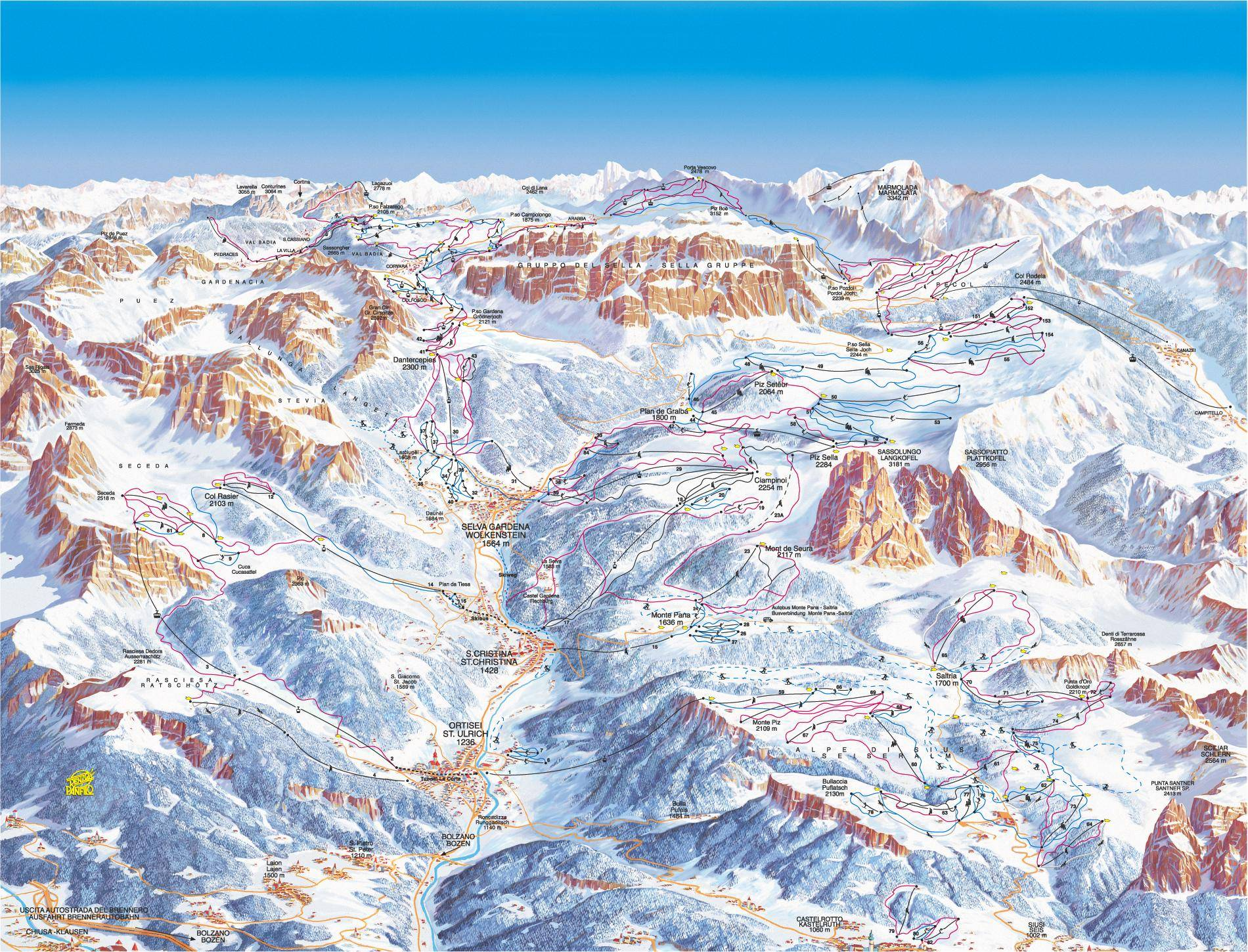 Dolomiti Superski ski map Italy Europe