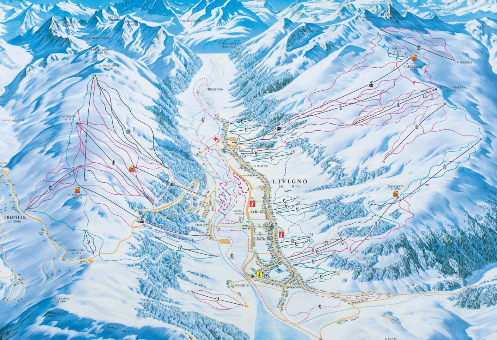 Livigno ski map Italy Europe