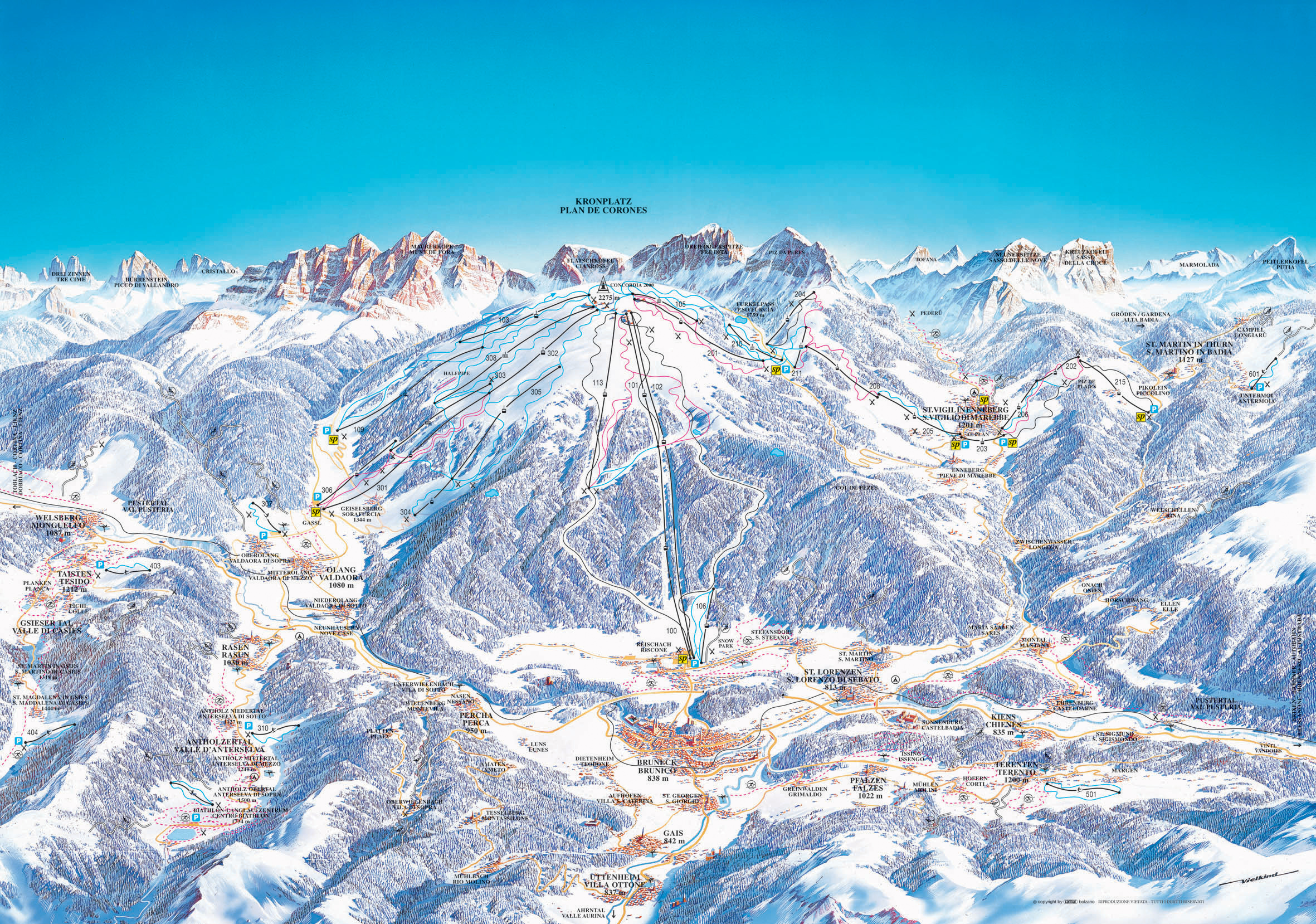 Plan De Corones Kronplatz ski map Dolomiti Superski Italy Europe