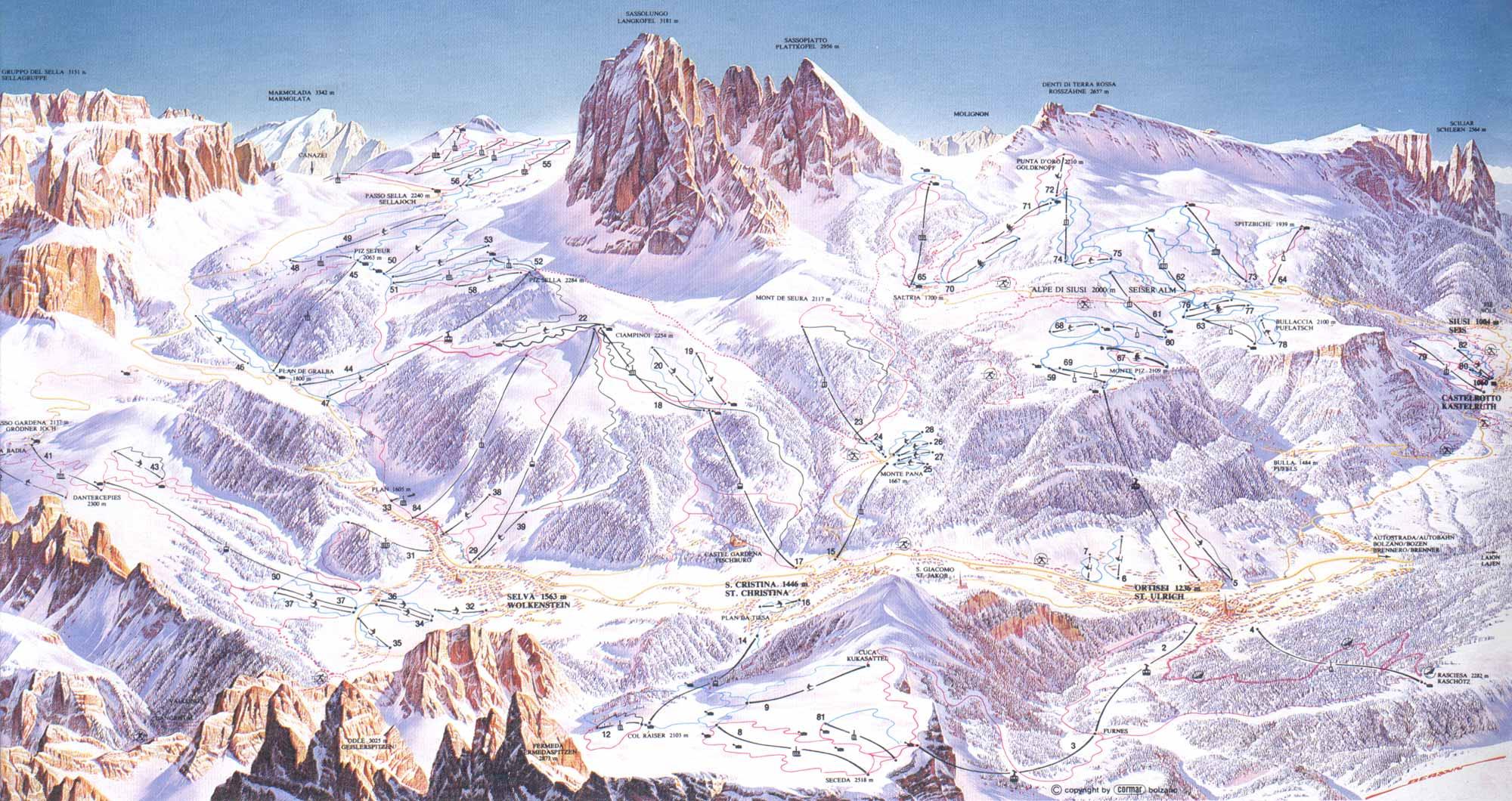 Val Gardena Alpe Di Siusi ski map Dolomiti Superski Italy Europe