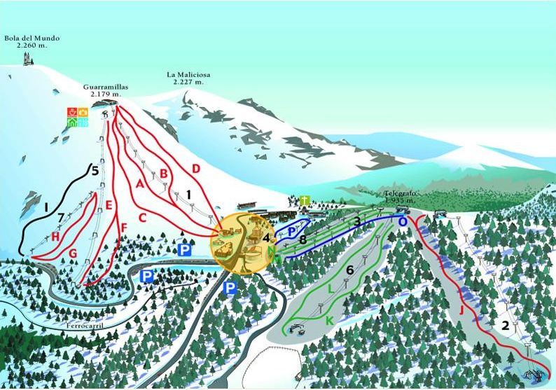 Puerto De Navacerrada ski map, Spain, Europe