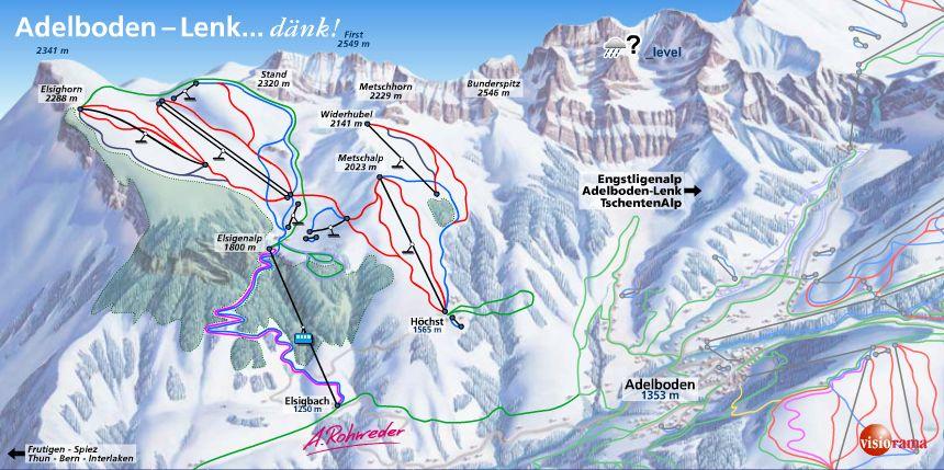 AdelbodenLenk ski map Berner Oberland Switzerland Europe