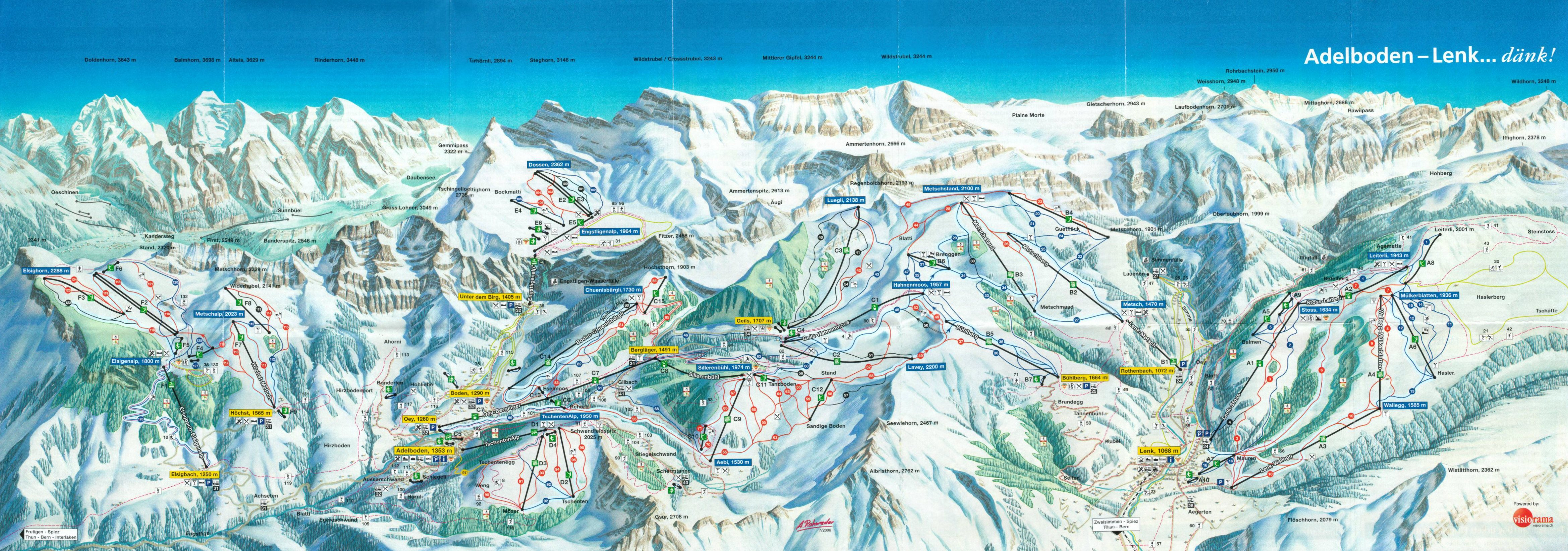 Adelboden Lenk Ski Map Berner Oberland Switzerland Europe