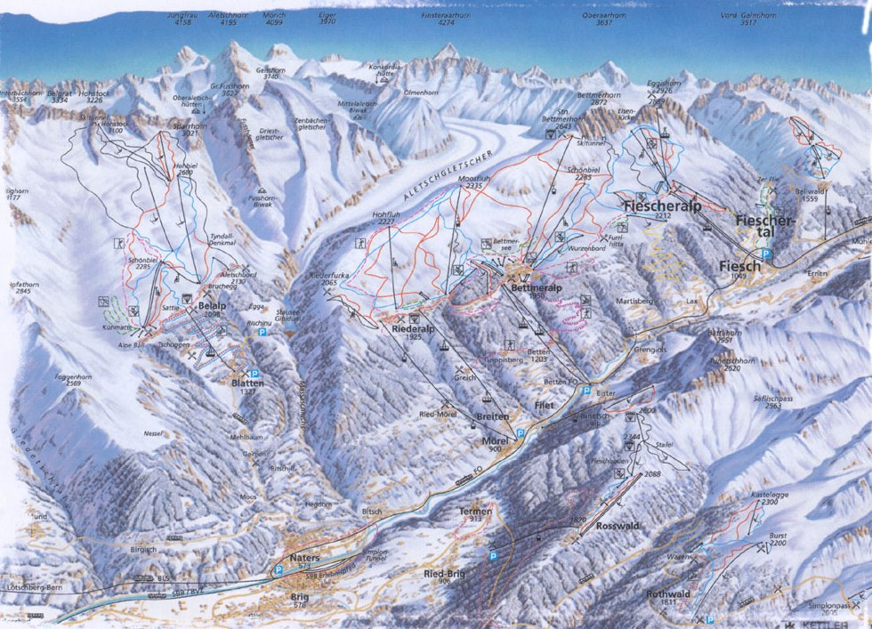 Rosswald ski map, Valais, Switzerland, Europe