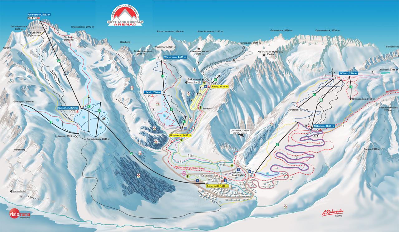 Andermatt ski map Uri Switzerland Europe