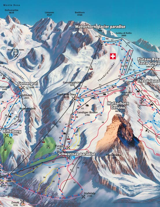 Zermatt ski map Valais Switzerland Europe
