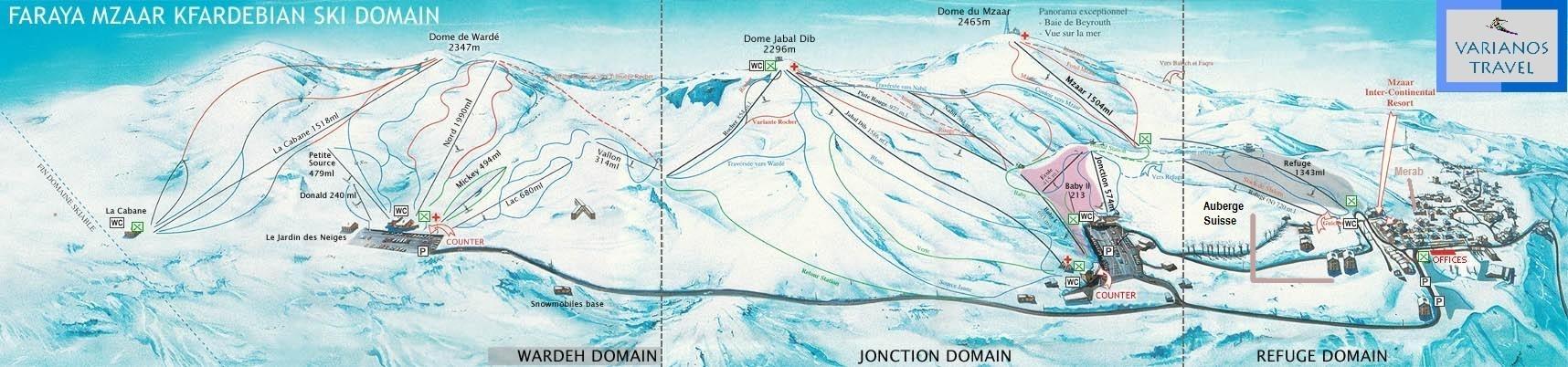 Faraya Mzaar Ski Map Lebanon Middle East