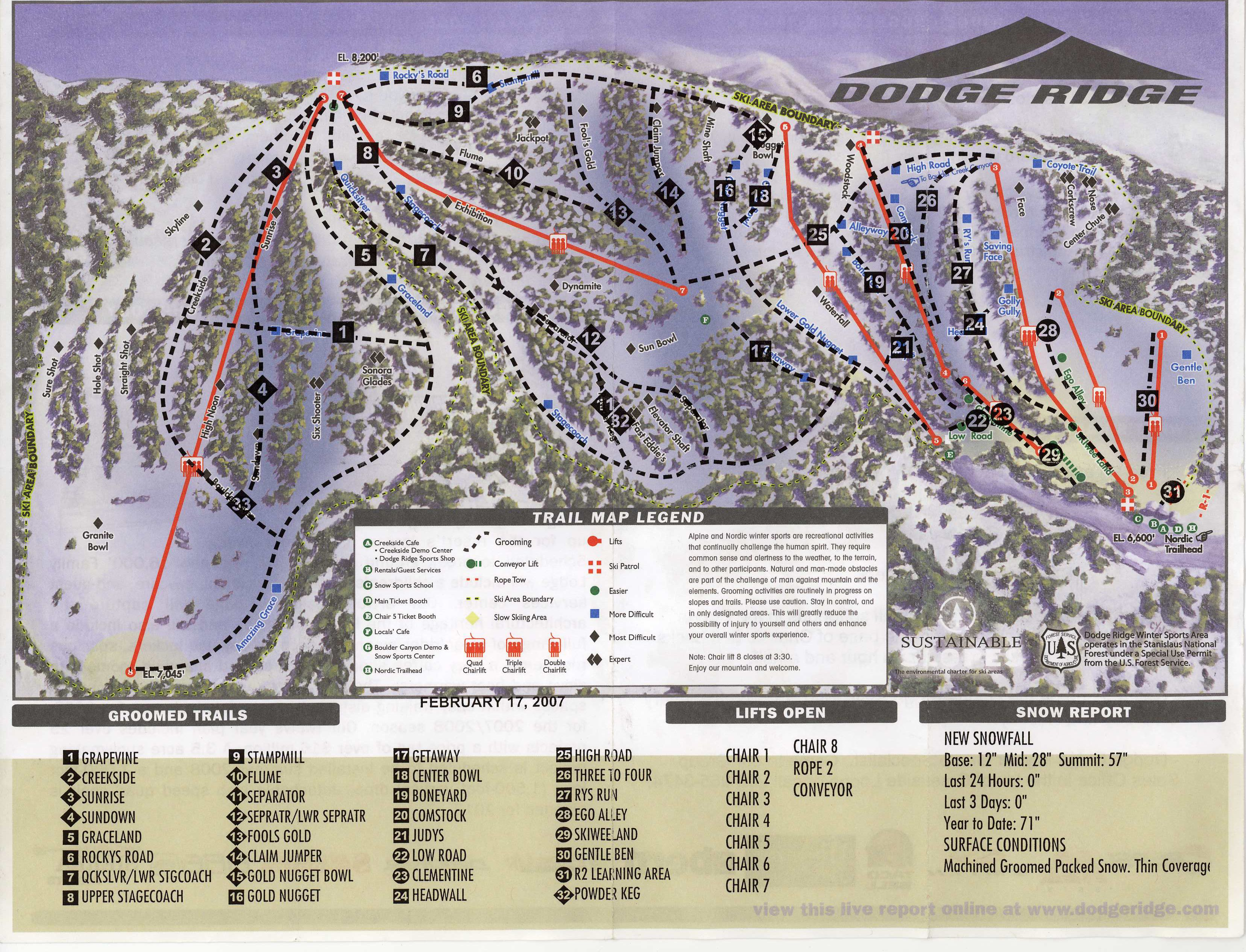 dodge ridge ski map california usa north america. Cars Review. Best American Auto & Cars Review